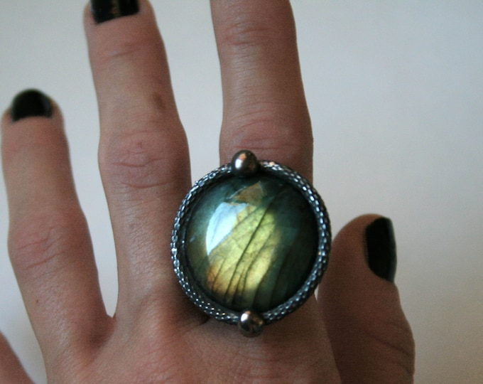 Gold Green Labradorite Round Ring // Labradorite Adjustable Ring