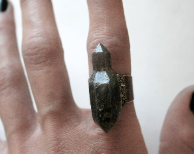 Tibetan Smoky Quartz Scepter Crystal Ring // Terminated Crystal Adjustable Ring // Crystal Cluster Ring with Pyrite