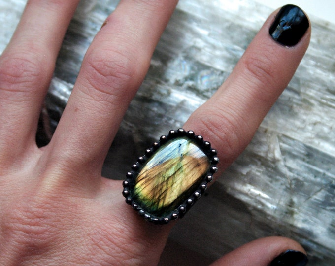 Gold Labradorite Ring // Yellow Gold Aqua Rainbow Labradorite Rectangle Adjustable Ring