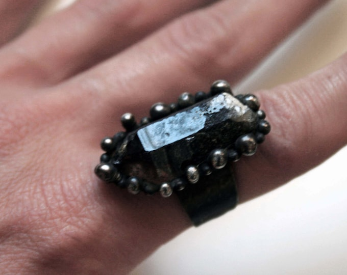 Terminated Black Smoky Quartz Crystal Point Ring