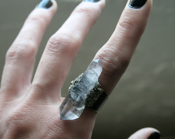 Tibetan Pale Smoky Quartz Crystal Ring // Terminated Crystal Adjustable Ring // Crystal Ring with Pyrite