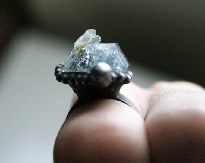 Double Terminated Tibetan Quartz Crystal Ring // Tibetan Quartz Adjustable Ring