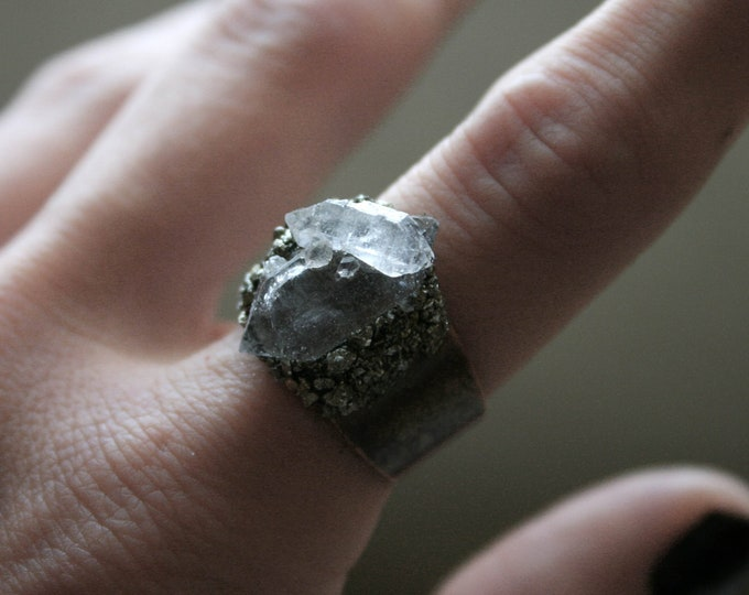 Tibetan Smoky Quartz Crystal Cluster Ring // Terminated Crystal Adjustable Ring // Crystal Cluster Ring with Pyrite