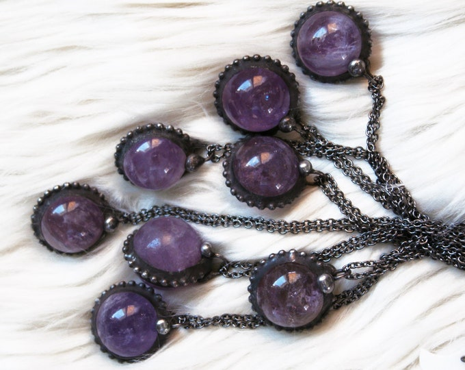 Amethyst Crystal Ball Necklace // Small Amethyst Crystal // Round Amethyst Stone Layering Necklace // Amethyst Sphere Necklace