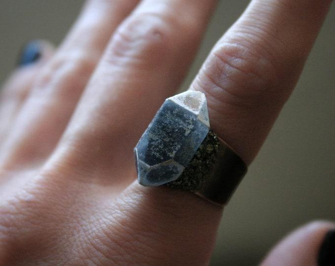 Tibetan Smoky Quartz Crystal Ring // Terminated Crystal Adjustable Statement Ring