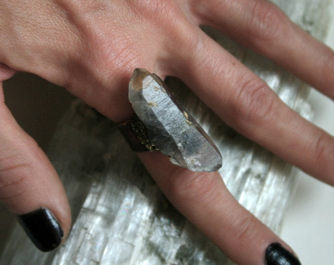 Tibetan Smoky Quartz Crystal Ring // Terminated Crystal Adjustable Statement Ring