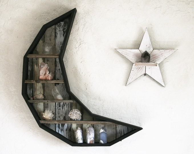 Massive Crescent Moon and Star Curiosity Cabinet // Reclaimed Wood Moon and Star Shelf // Crystal and Gem Display Shelving