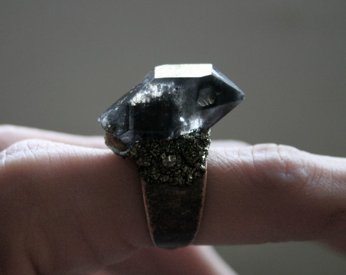 Tibetan Smoky Quartz Crystal Ring // Double Terminated Crystal Adjustable Statement Ring