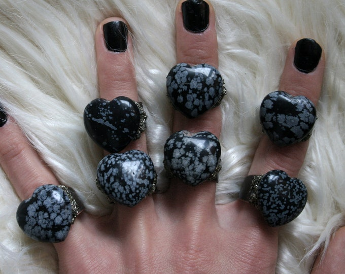 Snowflake Obsidian Gemstone Heart Crystal Ring // Heart Snowflake Obsidian Crystal Adjustable Size Ring with Pyrite