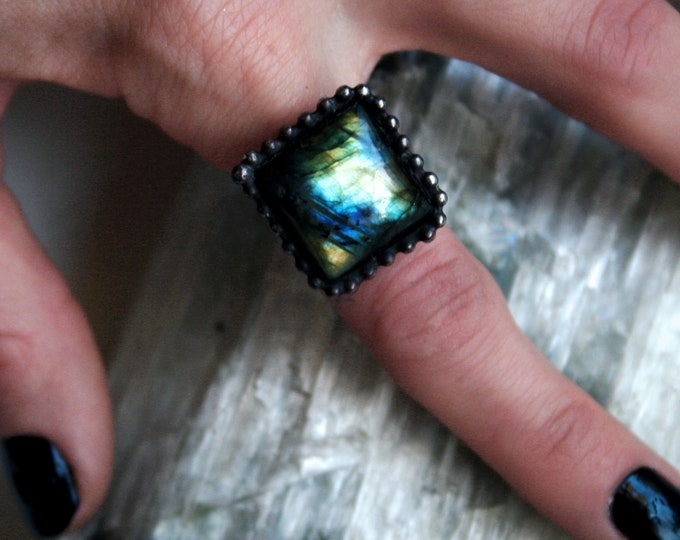 Gold Labradorite Ring // Yellow Gold Blue Aqua Rainbow Labradorite Rectangle Adjustable Ring