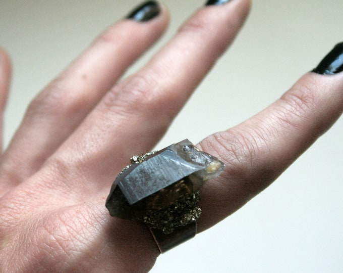 Black Smoky Quartz Crystal Ring // Rough Smoky Quartz Crystal Adjustable Size Ring with Pyrite