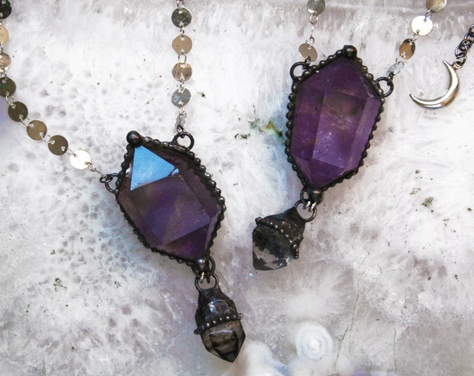 Amethyst Crystal Double Terminated Point and Tibetan Quartz Necklace // Amethyst Crystal Point Necklace