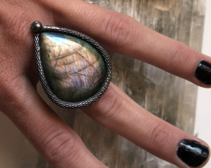 Pink Purple Rainbow Labradorite Ring // Labradorite Adjustable Ring