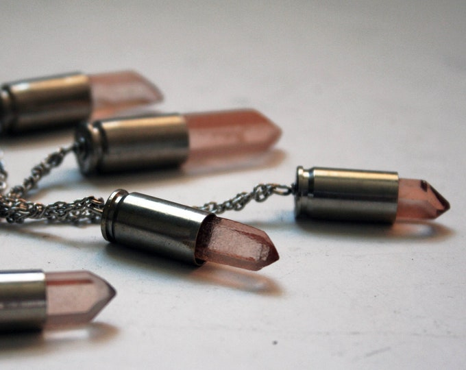 Watermelon Quartz Crystal Brass Bullet Necklace // Peach Pink Quartz Point Brass Bullet Shell // Bullet Casing Necklace