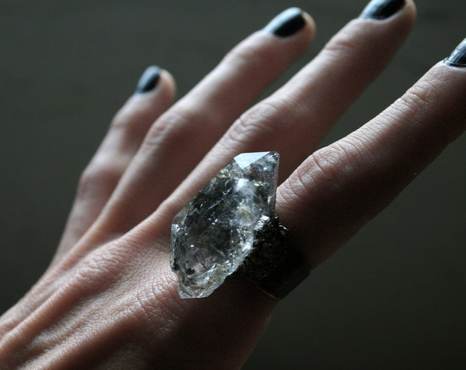 Tibetan Quartz Crystal Ring // Double Terminated Clear White Crystal Adjustable Size Ring with Pyrite