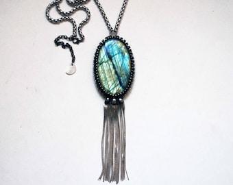 Rainbow Labradorite Round Necklace // Blue Gold Aqua Labradorite Statement Necklace