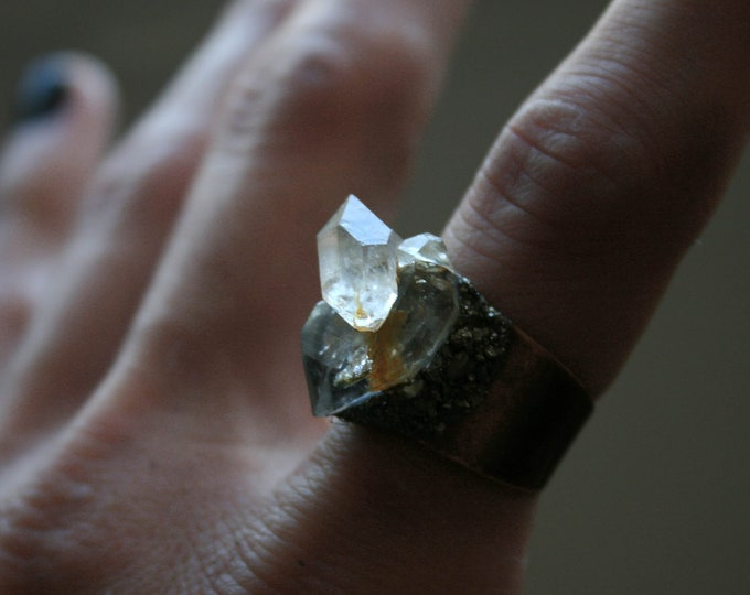 Tibetan Quartz Crystal Twin Ring // Terminated Crystal Adjustable Ring // Crystal Cluster Ring with Pyrite