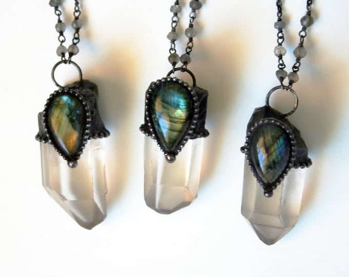 Quartz Point with Labradorite Teardrop Stone Necklace - Small // Clear White Crystal with Labradorite Statement Necklace