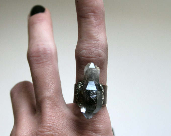 Tibetan Pale Smoky Quartz Scepter Crystal Ring // Terminated Crystal Adjustable Ring // Crystal Cluster Ring with Pyrite