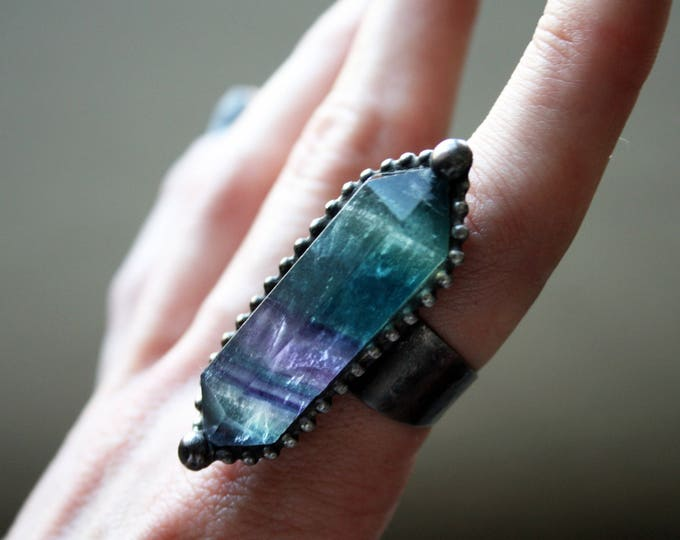 Large Double Terminated Fluorite Crystal Ring