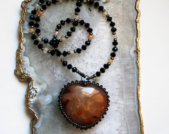 Large Agate Heart Necklace // Large Agate Puffed Heart Necklace