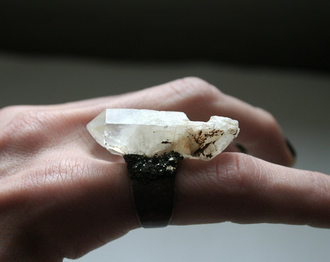 White Quartz Crystal Ring // Terminated Clear White Crystal Adjustable Size Ring with Pyrite