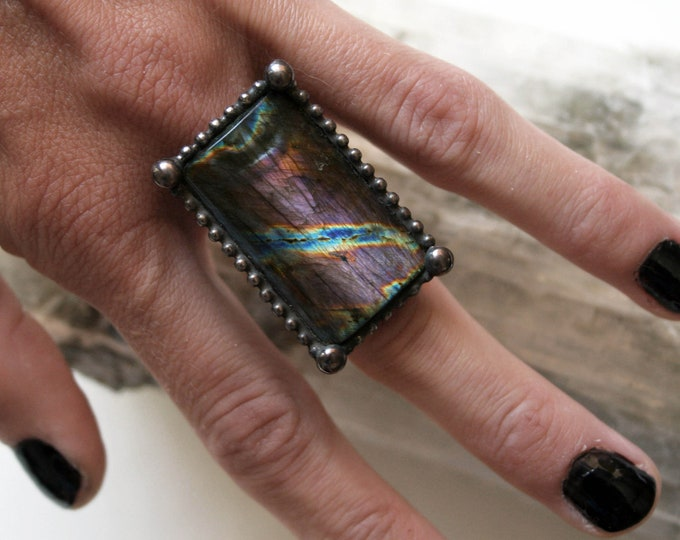 Large Purple Rainbow Labradorite Ring // Labradorite Adjustable Ring