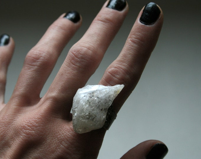 White Citrine Crystal Ring // Terminated Clear White Crystal Adjustable Size Ring with Pyrite