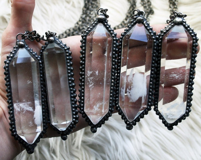 ALMOST GONE !!! Extra Large Clear Quartz Double Terminated Crystal Necklace // Water Clear Quartz Crystal Necklace