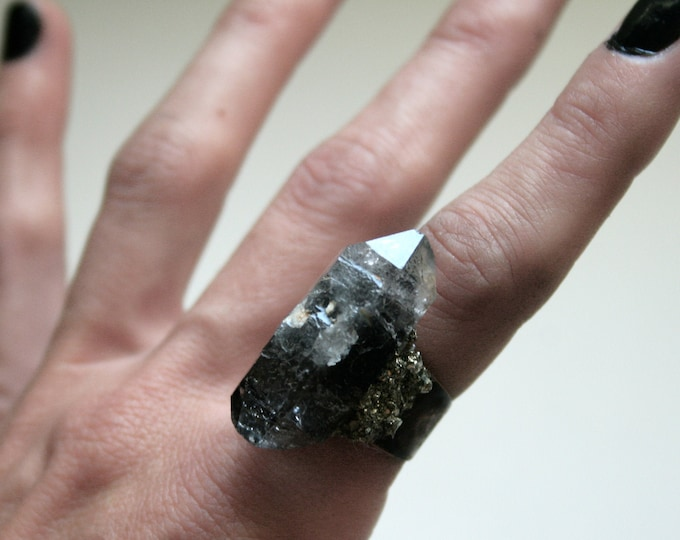 Tibetan Smoky Quartz Crystal Ring // Terminated Crystal Adjustable Ring // Black Crystal Ring with Pyrite