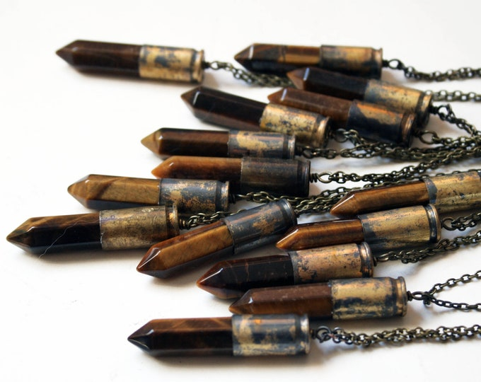 Tigers Eye Brass Bullet Crystal Necklace // Tigers Eye Gemstone Point Crystal Point Bullet Necklace