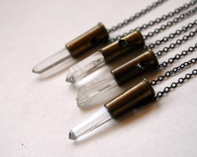 Petite Clear Quartz .22 Long Rifle Rimfire Bullet Crystal Necklace // Clear White Quartz Point Bullet Shell Necklace