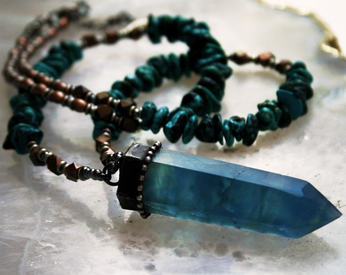 Turquoise Fluorite Crystal Point Pyrite Beaded Necklace // Turquoise Aqua Fluorite Tower and Turquoise Beaded Necklace