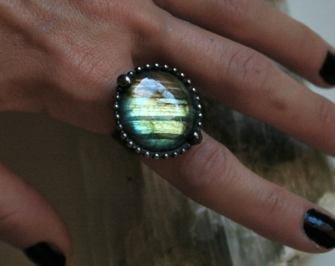 Aqua Labradorite Round Ring // Labradorite Adjustable Ring