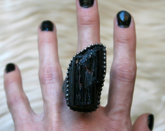 Massive Black Tourmaline Crystal Statement Ring // Large Raw Tourmaline Adjustable Ring