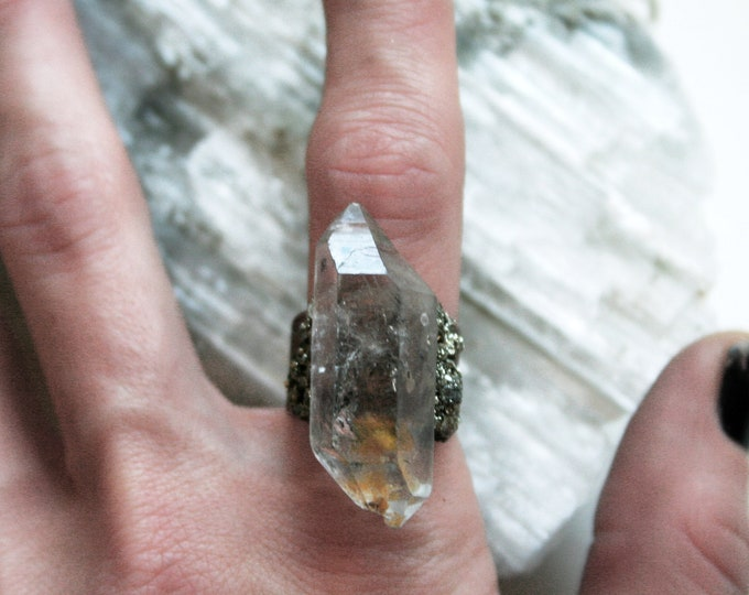 Tibetan Clear Quartz Crystal Ring // Terminated Crystal Adjustable Ring // Double Terminated Crystal Ring with Pyrite