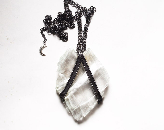 Massive Selenite Heart Slab Crystal Necklace // White Selenite Slab and Tibetan Quartz Crystal Necklace