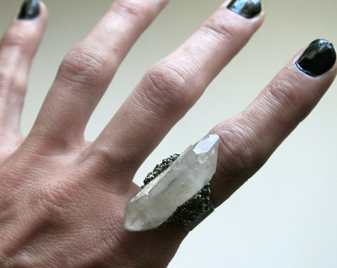 White Quartz Double Terminated Crystal Ring // Terminated Clear White Crystal Adjustable Size Ring with Pyrite