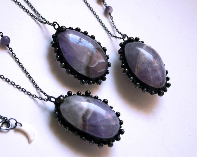 Large Tumbled Dream Amethyst Palm Stone Necklace // Amethyst Statement Necklace // Purple Amethyst Crystal Necklace