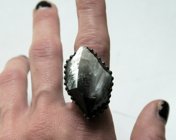 Arkansas Smoky Quartz Crystal Point Ring // Large Smoky Quartz Crystal Point Statement Ring