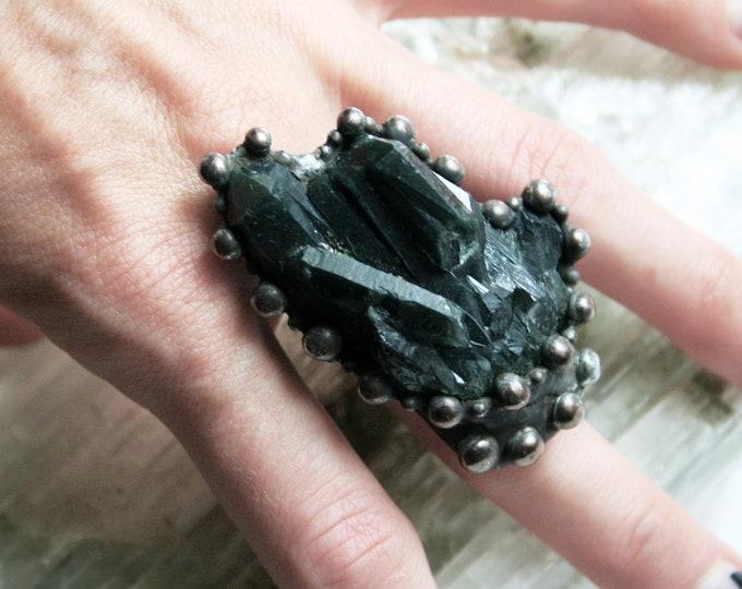 Massive Smoky Quartz Crystal Cluster Ring // Large Smoky Quartz Statement Ring