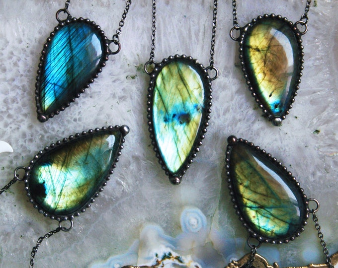 Labradorite Teardrop Necklace // Blue Gold Aqua Rainbow Labradorite Statement Necklace // Large Labradorite Flashy Layering Necklace