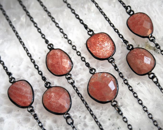 Petite Sunstone Gunmetal Necklace // Minimal Sunstone Layering Necklace