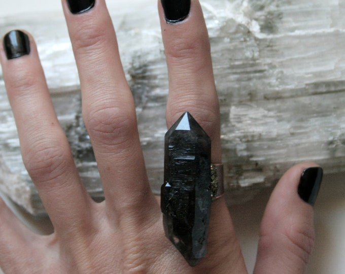 Massive Black Tibetan Smoky Quartz Crystal Ring // Terminated Crystal Adjustable Statement Ring