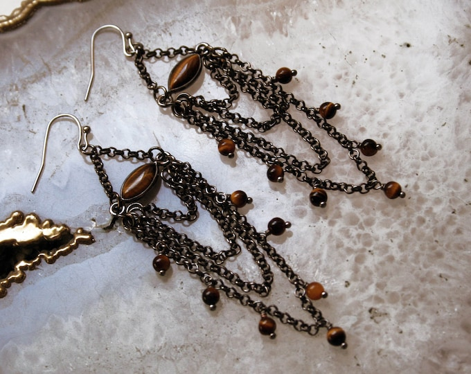Tigers Eye Chandelier Earrings // Tigers Eye Gemstone Fringe Beaded Earrings