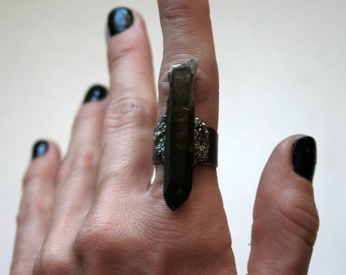 Long Black Smoky Quartz Crystal Ring // Terminated Smoky Quartz Crystal Adjustable Size Ring with Pyrite
