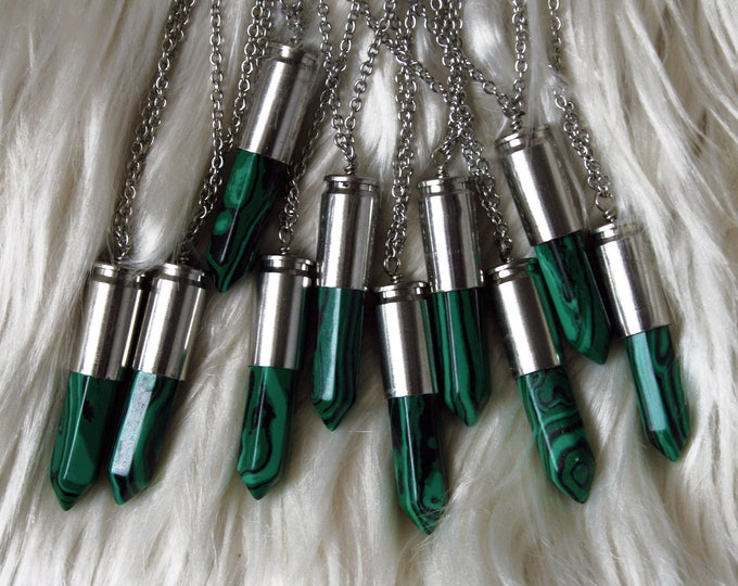 Synthetic Malachite Silver Bullet Crystal Necklace // Synthetic Malachite Gemstone Point Crystal Point Bullet Necklace