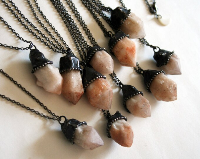 Small Candle Quartz Crystal Necklace // Peach Elestial Quartz Crystal Point Minimal Layering Necklace