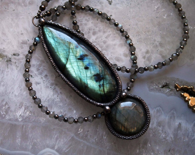 Extra Large Labradorite Petal Necklace // Rainbow Labradorite Statement Necklace