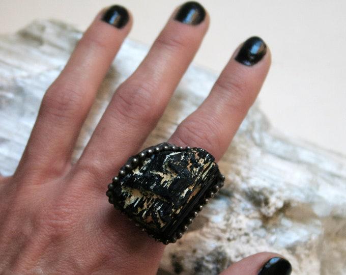 Large Black Tourmaline Crystal Statement Ring // Large Raw Tourmaline Adjustable Ring